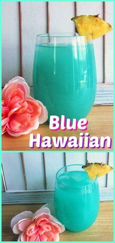 A decadent Blue Hawaiian cocktail