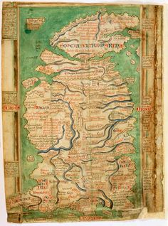 Medieval map of England and Scotland dating from 1250.
