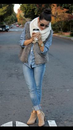 vest and checkered button down