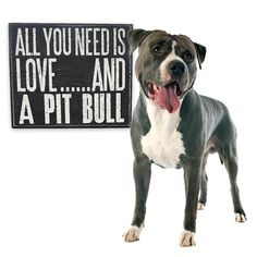 All You Need is Love and a Pit Bull Wood Dog, Box Signs, All You Need Is Love, Stand Up, Wooden Boxes, Pitbulls, Pets, Animals, Google