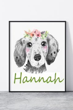 Puppy Nursery print, puppy name print, puppy decor, dog print, dog decor Puppy Names, Dog Names, Nursery Themes, Nursery Prints, Puppy Nursery, Moose Art, Puppies, Floral, Dogs