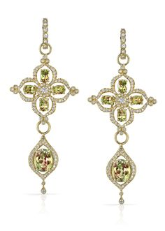 18k Gold and Diamond Csarite™ Flower Earrings by Erica Courtney®
