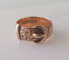 9ct Rose Gold Engraved Buckle Ring Dated 1914 by Britishgoldandsilver on Etsy