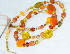 Go BIG Orange Beaded Id Badge or Key Lanyard by nonie615, $22.00 Also available as eyeglass lanyard. 15% off sale through 1/5/14.