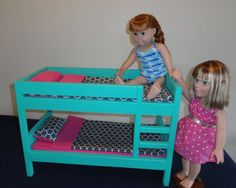 Olivia, our Springfield Doll, looks ready for a good nights sleep! American Girl Doll Furniture  Bunk Bed Teal by CraftsbyDawnandBob, $125.00