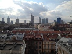 View over Warsaw from the top apartment Foksal Residence