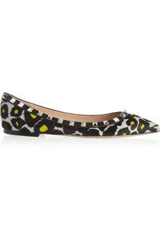Valentino Rockstud leopard-print calf hair point-toe flats | NET-A-PORTER