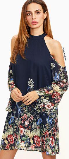 Navy Flower Print Keyhole Halter Neck Cold Shoulder Dress