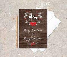 Deer Holiday Card Printable Digital file 5x7 door tranquillina || pin maudjesstyling