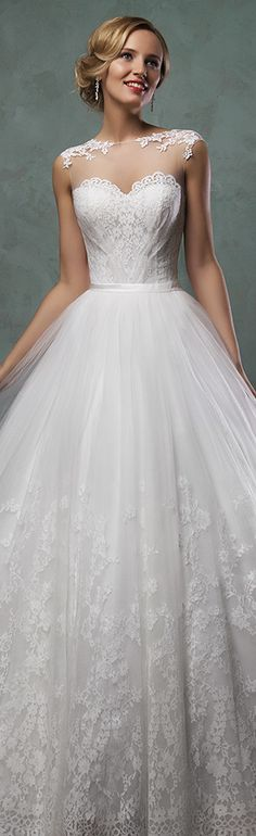 .amelia sposa 2016 wedding dresses stunning cap sheer bateau neckline scallop sweetheart tulle ball gown a line dress valery #ballgown #weddingdresses #ameliasposa.
