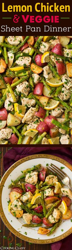 Lemon Chicken Asparagus and Potato Sheet Pan Dinner - Easy to throw together and so delicious! A repeat recipe!