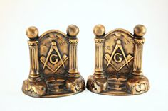 Bookends Masonic Bookends Freemason by FindsFromYesteryear on Etsy