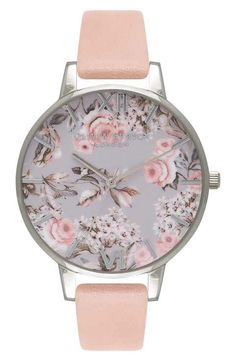 Olivia Burton 'Enchanted Garden' Leather Strap Watch, 38mm