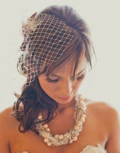 Birdcage veil with Rustic Pearl Necklace