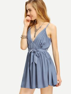 Spaghetti Strap Backless Pleated Dress