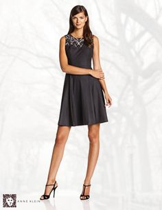 Anne Klein Women's Sleeveless Applique Fit-and-Flare Dress