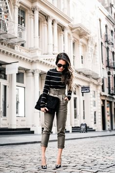 Spring Stripes :: Lace up pants & Striped jeans