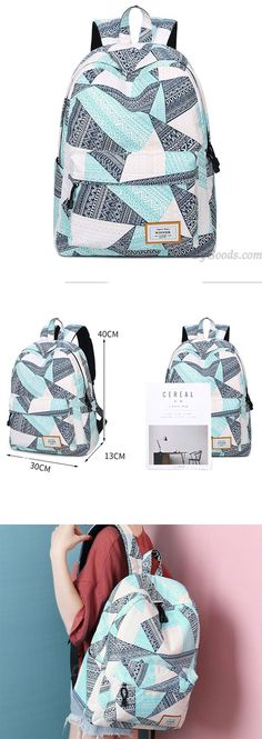 Unique Geometric Pattern Printing Waterproof Large Capacity Girl's Canvas School Backpack for big sale! - October 27 2019 at Lace Backpack, Retro Backpack, Backpack Pattern, Travel Backpack, College Bags For Girls, Girls Bags, Cute Backpacks, School Backpacks, Teen Backpacks