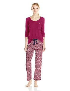 Women's Sleepwear - Nautica Womens Knit Pajama Set >>> Check out this great product. (This is an Amazon affiliate link)