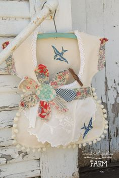 Vintage Style Dress Clothespin bag Blue Birds and wired Patchwork quilt flower ~ now in our Etsy Shop