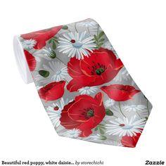 Beautiful red poppy, white daisies and ladybug
