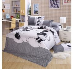 Black And White Mickey And Minnie Mouse Bedding-Boys And Girls Bedding-Kids Bedding Sets