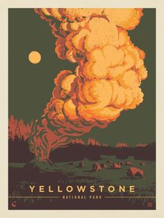 Anderson Design Group - Yellowstone National Park: Pillar of Steam American National Parks, National Park Posters, Gig Poster, Park Art, Guache, Arte Horror, Parcs, Yellowstone National Park, Vintage Travel Posters