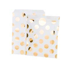 8 x Gold Metallic Dotty Treat Bag Goody Bag by CandyCupcakeShop