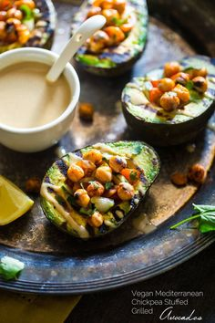 Vegan Mediterranean Chickpea Stuffed Grilled Avocados recipe #side Dish #healthy
