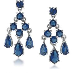 Carolee  Stone Mini Chandelier Earrings (78 AUD) ❤ liked on Polyvore featuring jewelry, earrings, blue, stone earrings, carolee jewelry, carolee, blue jewelry and chandelier earrings