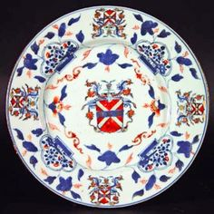Chinese Export Armorial Plate, Horsemonden Family. Find this and other ceramics at CuratorsEye.com.
