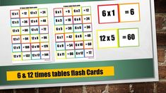 Printable Multiplication flash Cards / Double Sided/ Timetable Flash Cards Printable/ PDF Math Flash Cards Times Table 6 and times table 12 Printable Math Games, Printable Worksheets, Printable Cards, Printables, 12 Times Table, Times Tables Games, Snakes And Ladders Printable, Math Flash Cards, Maths Paper