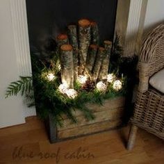 Rustic Christmas ~ I like this for the inside of my fireplace...
