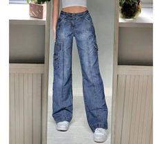 Baggy Cargo Pants, Cargo Pants Women, Denim Pants, Pants For Women, Jeans Women, Trouser, Harajuku, Top Streetwear, Wide Leg Denim