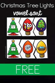 Fun Christmas vowel sort for kindergarten or first grade! Festive literacy center or guided reading activity.