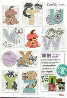 Cats and dogs ABC part 3 free cross stitch patterns