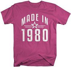 Shirts By Sarah Men's Made In 1980 Birthday T-Shirt Retro Star Custom Shirts