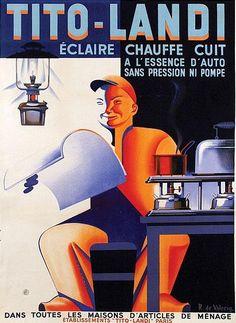 Poster by Roger de Valerio (1896-1951), ca. 1930, Tito-Landi éclaire, chauffe, cuit.