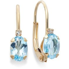 14k Gold Earrings, Blue Topaz (9/10 Ct. T.W.) And Diamond Accent... ($149) via Polyvore