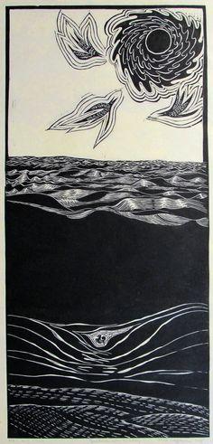 lino print of water