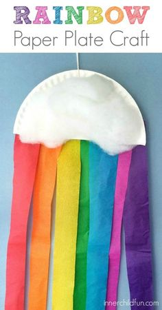 Rainbow Paper Plate Craft for Preschoolers // For more family resources visit www.ifamilykc.com! :)