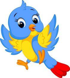 Illustration of Cute bird cartoon vector art, clipart and stock vectors. Cartoon Birds, Cute Cartoon, Cartoon Bird Drawing, Animal Drawings, Art Drawings, Cartoon Mignon, Baby Animals, Cute Animals, Young Animal