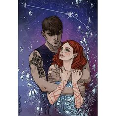 "Noah & Echo (""Pushing The Limits"" by Katie McGarry @katielmcgarry)  #PushingTheLimits #KatieMcGarry #Noah #Hutchins #Echo #Emerson #couple #tattoo #scars #stars #aires #space #embrace #YA #fanart #art #illustration #digital #Wacom #PhantomRin"