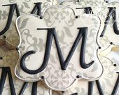 Elegant Monogram Decorated Sugar Cookies For Wedding, Anniversary, Engagement Party, Shower, Birthday Or Any Special Occasion