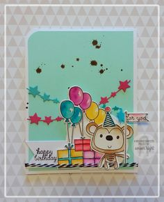 Birthday card by Amber Hight. Reverse Confetti stamp set: Monkey Business. Confetti Cuts: Monkey Business, Stitched Flag Trio, Circles 'n Scallops, and Star Garland.