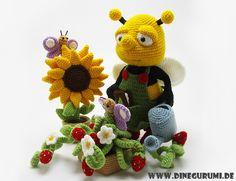 Biene Fleißiges Bienchen Amigurumi Häkelanleitung von Dinegurumi auf DaWanda.com