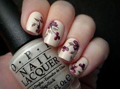 Burgundy Floral Nails
