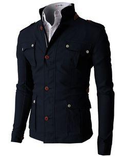 Doublju Men's Field Hoodie Jacket With Two Tone Long Sleeves (KMOJA0134) #doublju