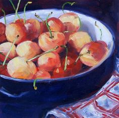 "Daily Paintworks - ""Bowl of Cherries"" - Original Fine Art for Sale - © Maria McNitt"