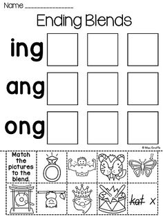 -ng ending sound worksheets to practice ending blends word families for NG - so much fun!